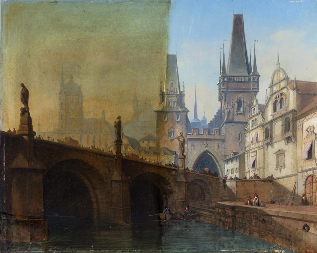 Karlsbrücke in Prag, Öl auf Leinwand, Gemälde aus dem 18. Jahrhundert, halbseitig gereinigt