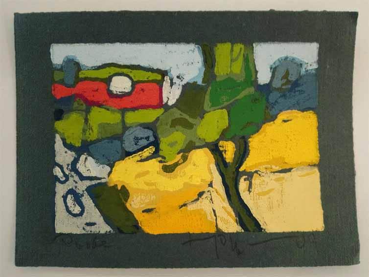 Klaus Fussmann Landschaft Probedruck Linoldruck