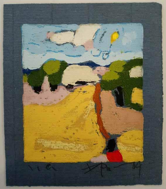 Klaus Fussmann Landschaft mit Weizenfeld Linoldruck