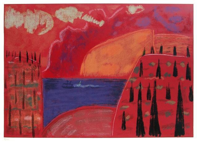 Ida Kerkovius, Sonnenuntergang am Gardasee, Zypressenhang am Gardasee, 1969, Serigrafie in 8 Farben, 50,3 x 71 cm