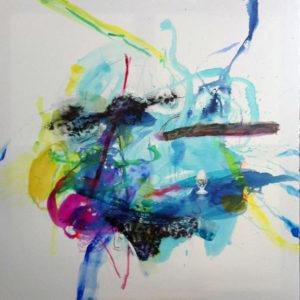 Frühstück danach, Blau Öl/Leinwand 100 x 100 cm