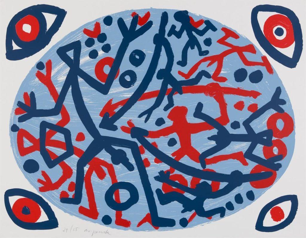 A. R. Penck Komposition mit vier Augen Farbserigraphie