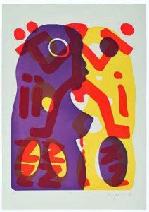 A. R. Penck Serie II, Du (Lila-Gelb) Farbserigraphie