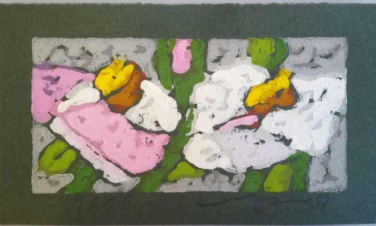 Klaus Fussmann Rosen rosa-weiß Linoldruck