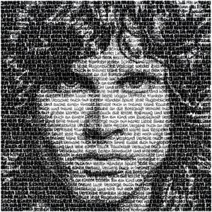SAXA geschriebene Bilder Tusche auf Leinwand Jim Morrison