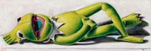 Andreas Schiller WKDA Frosch Grün Liegend Öl auf Leinwand