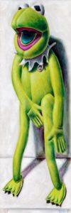 Andreas Schiller WKDA Frosch Grün Stehend Öl auf Leinwand