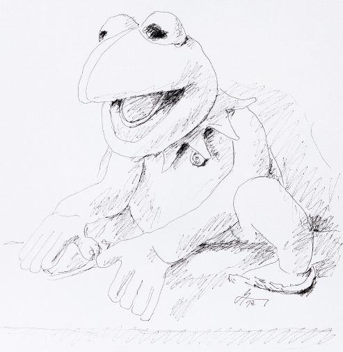 Andreas Schiller WKDA Muppets Kermit Tuschezeichnung