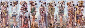 Andreas Schiller Global Backup I 9 Hunde Öl auf Leinwand