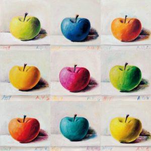 Andreas Schiller Painting Exercises 9 Äpfel Öl auf Leinwand