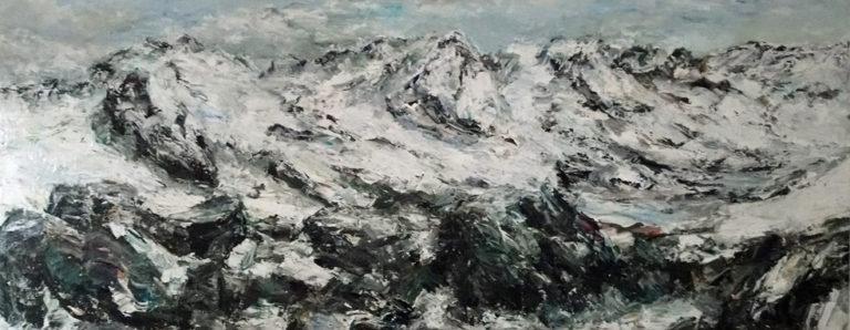 Rudi Weiss Berge 43-2018 Öl auf Leinwand