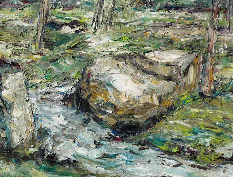 Rudi Weiss Am Fluss, 13-2020 Öl auf Leinwand