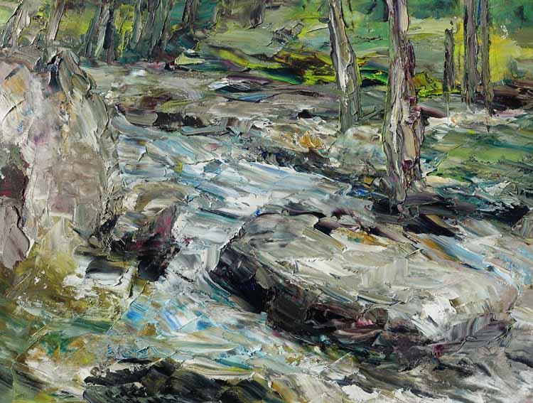 Rudi Weiss Am Fluss, 14-2020 Öl auf Leinwand