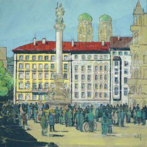 Ulrich Hartig Marienplatz (München) Mischtechnik/Leinwand