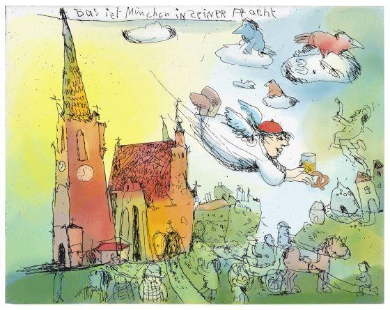 Janosch Das ist München in seiner Pracht Farbradierung